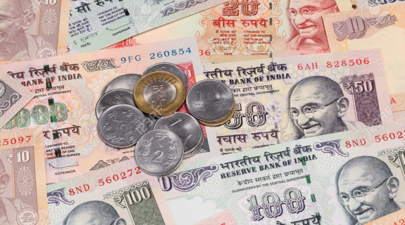 Indian rupee notes and coins